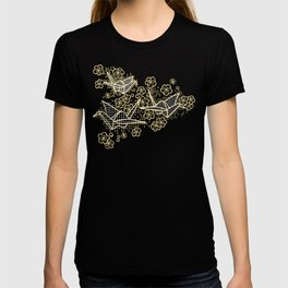 Black and Gold Japanese Origami Cranes T-shirt