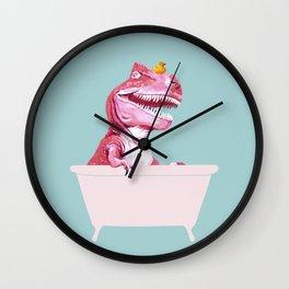 Pink T-Rex in Bathtub Wall Clock