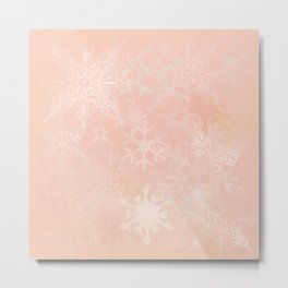 Whimsical Soft Peach Snowflakes Metal Print