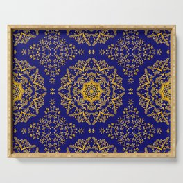 golden mandala pattern on the dark blue background Serving Tray