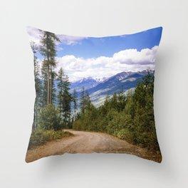 Rocky Mountain Road Throw Pillow