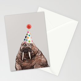 Moody Walrus with Party Hat Stationery Cards
