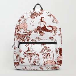 Classic Ruby Pink Zodiac-Inspired Toile Pattern Backpack