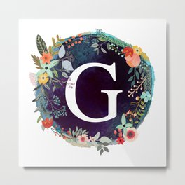 Personalized Monogram Initial Letter G Floral Wreath Artwork Metal Print