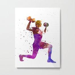 Man exercising weight training workout fitness Metal Print