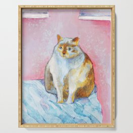 Polite Chunky Cat Serving Tray
