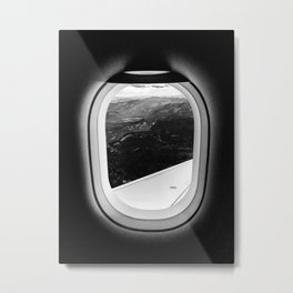 Window Seat // Scenic Mountain View from Airplane Wing // Snowcapped Landscape Photography Metal Print