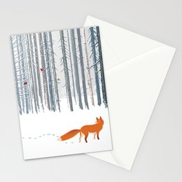 Fox in the white snow winter forest illustration Stationery Cards