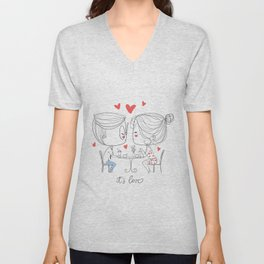 """Couple at Cafe Table with quote """"It's Love"""" Unisex V-Neck"""