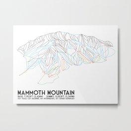 Mammoth Mountain, CA - Minimalist Trail Map Metal Print