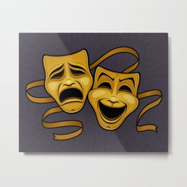 Gold Comedy And Tragedy Theater Masks Metal Print