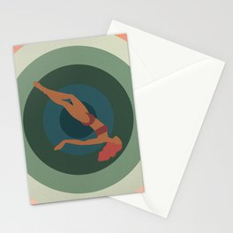 """Retro Vertigo Saul Bass Style Spiral with Woman, Entitled """"Tumble Weed"""" Stationery Cards"""