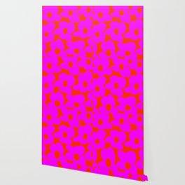 Pink Retro Flowers Orange Red Background #decor #society6 #buyart Wallpaper