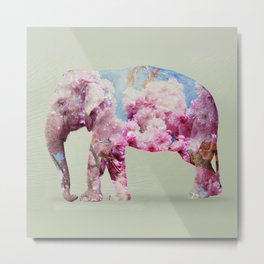 Cherry blossom Elephant Metal Print
