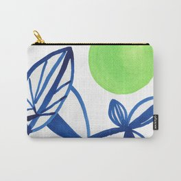 Navy blue and lime green abstract leaves Carry-All Pouch