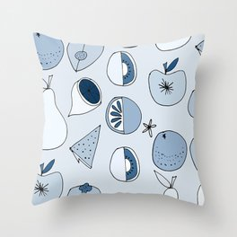 Classic Blue Fruits Ice Throw Pillow