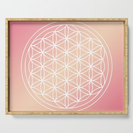 Flower of Life Mandala Pink Peach Serving Tray