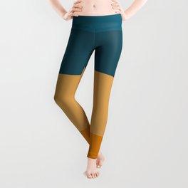 Teal Blue to Orange Minimalist Broad Stripes Color Block Pattern Leggings
