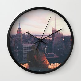 new york city skyline and couple-romance on the rooftop Wall Clock