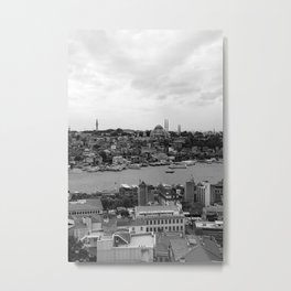 Istanbul city photography in black and white Metal Print