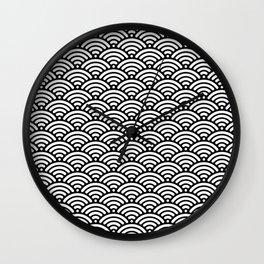 Black And White Seigaiha Sea Wave Nautical Minimalist Wall Clock