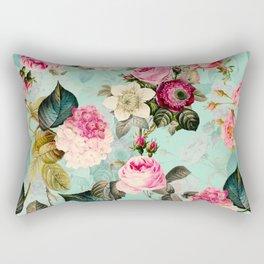 Vintage & Shabby Chic - Summer Teal Roses Flower Garden Rectangular Pillow