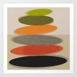 Mid-Century Modern Ovals Abstract Art Print
