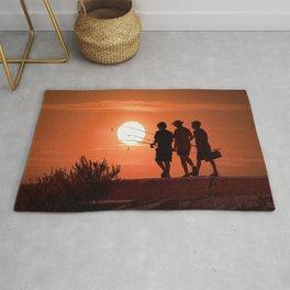 Three Boys Gone Fishing at Sunset Rug