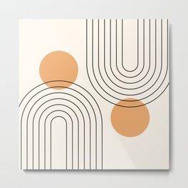 Mid Century Modern Geometric 61 (Rainbow and Sun Abstraction) Metal Print
