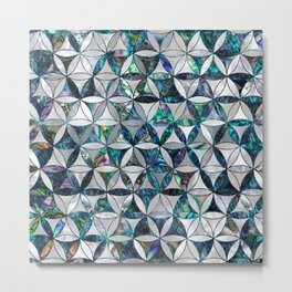 Flower of life pattern - Pearl and abalone Metal Print
