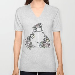 Deathly Hallows floral Unisex V-Neck