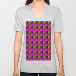 Yellow and Purple Multicolored Geometric Pattern Unisex V-Neck