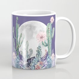 Desert Cactus Full Moon Succulent Garden on Purple Coffee Mug