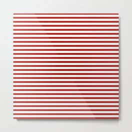 Red & White Maritime Small Stripes - Mix & Match with Simplicity of Life Metal Print