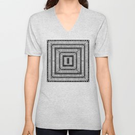 Black & White Symmetrical Pattern #3 Unisex V-Neck
