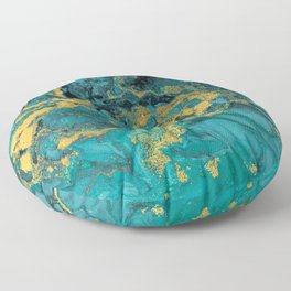 Abstract Pour Painting Liquid Marble Black Blue Teal Painting Gold Accent Floor Pillow