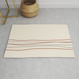 Off White Solid Color with Minimal Scribble Stripes Bottom Brown, Gray, And Beige Rug