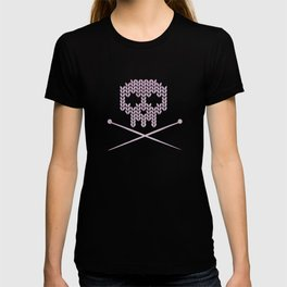 Knitted Skull (Black on Pink) T-shirt