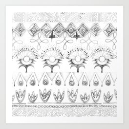 the rhyme of repetitive elements - black and white drawing Art Print