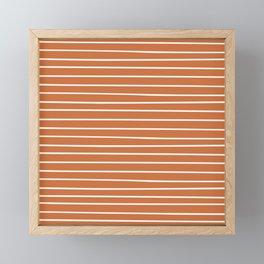 Geometric, Line Art, Colorful Stripes, Orange and White Framed Mini Art Print
