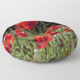 Red Poppies Floor Pillow