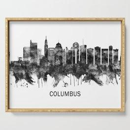 Columbus Ohio skyline BW Serving Tray