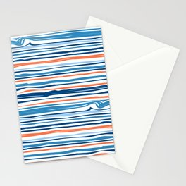 Modern Abstract Ocean Wave Stripes in Classic Blues and Orange Stationery Cards