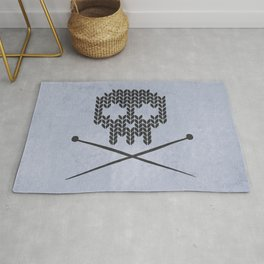 Knitted Skull (Black on Faded Periwinkle) Rug
