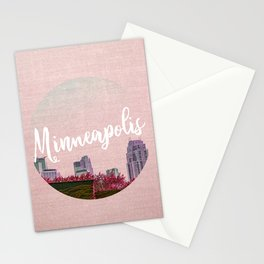 Minneapols Minnesota Skyline-Pink Tones Stationery Cards