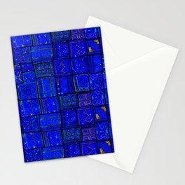 N17 - Calm Indigo Blue Boho Traditional Moroccan Artwork Stationery Cards