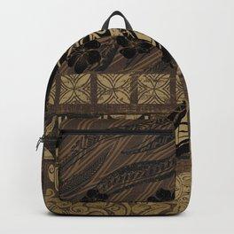 Vintage Samoan Golden Brown Tribal Tiare Backpack