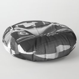 Hermosa Beach Surf Bug, Black and White Photography Print, Beach Art, South Bay Los Angeles Art Floor Pillow