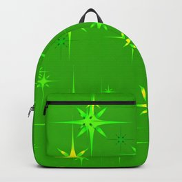 Green background with green stars. Backpack