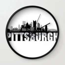 Pittsburgh Silhouette Skyline Wall Clock